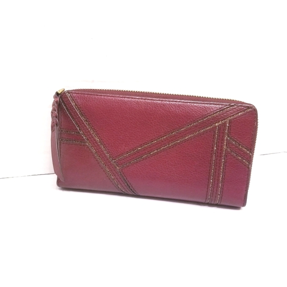 Fossil Gold Maroon Leather Wallet